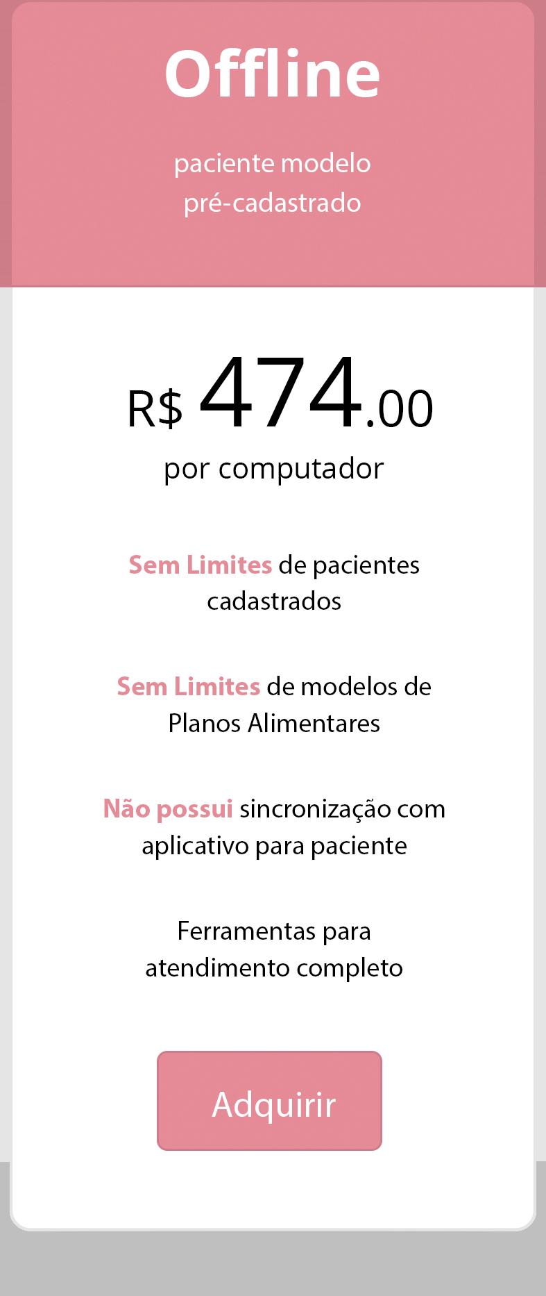 preço software para nutricionista offline